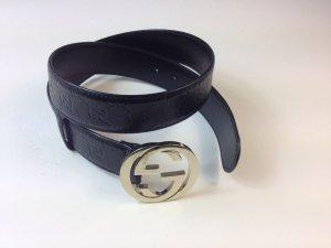 Original GG GUCCI Gürtel in schwarzem Guccissima-Leder
