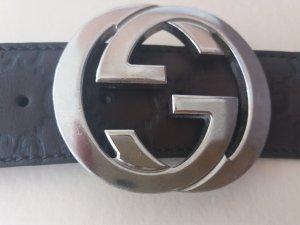 Original GG Interlocking Gucci Logo Ledergürtel dunkelbraun