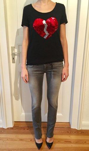 Original graue Pepe Jeans mit seitlichem Paillettenstreifen