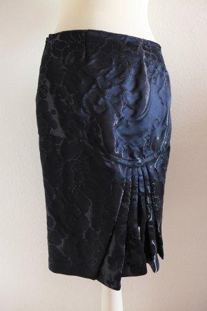 Original Gucci Bleistift Rock Pencil Skirt dunkelblau Blüten ital 40 dt 34 XS neu