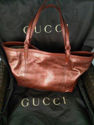 Gucci Shopper russet reptile leather