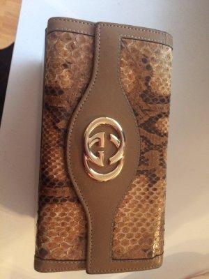 Original Gucci Geldbeutel Echtleder Schlangenleder beige groß top Zustand
