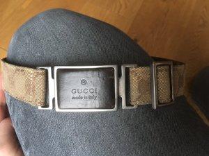 Gucci Canvas riem grijs-bruin-zwart bruin