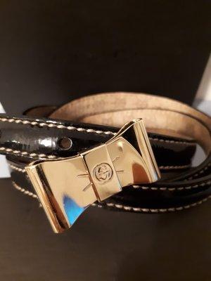 Original Gucci Gürtel Nappaleder schwarz und goldener Schleifen-Schnalle