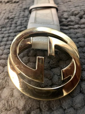 Gucci Leather Belt white-gold-colored