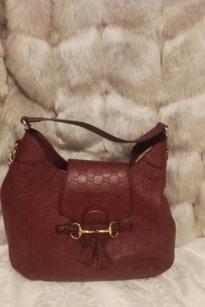 Gucci Handbag brick red-light grey leather