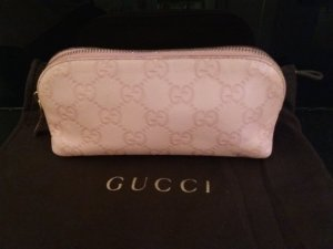 Original GUCCI Kosmetiktasche aus Leder mit Guccissima Logo-Prägung