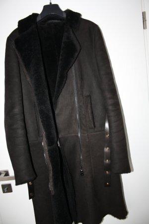 Gucci Abrigo de cuero marrón-negro-marrón oscuro Cuero