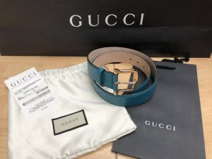 Gucci Leather Belt turquoise-cornflower blue