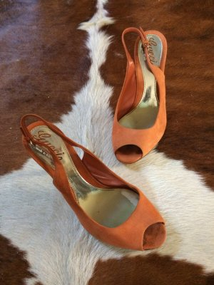 Original Gucci Peeptoes, Slingbacks, Gr 37, Wildleder
