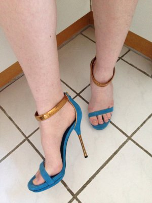 Original gucci Sandalen High heels Blau Gold Wildleder Python 40,5 neu