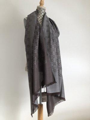 Gucci Bufanda de seda gris-marrón