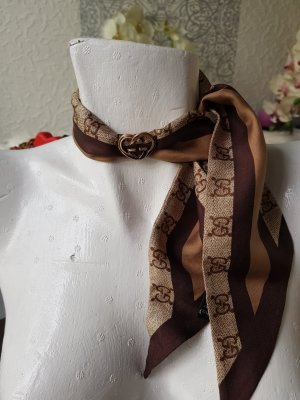 Gucci Foulard en soie doré-marron clair