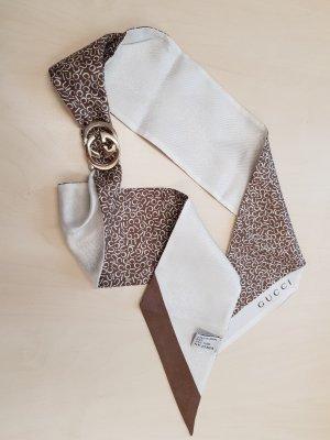 Original Gucci Schal Tuch 100% Seide und Schalraffer Spange