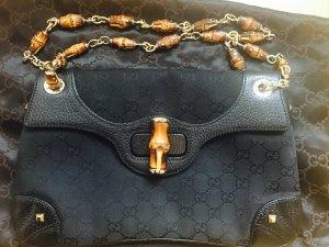 Original GUCCI Schultertasche mit Bambus-Details in schwarz aus Leder/GG-Stoff