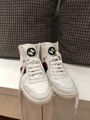 Gucci Zapatillas altas blanco-verde Cuero