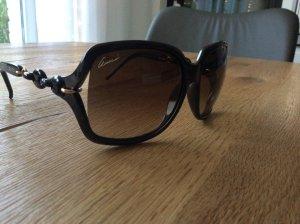 Original Gucci Sonnenbrille mit Kettendetail Braun-Gold
