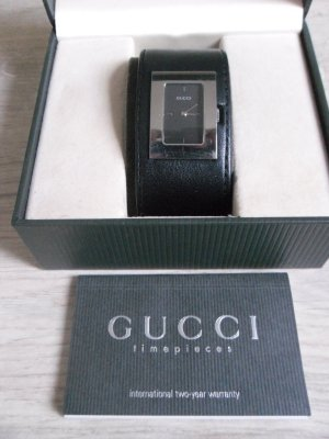 Gucci Horloge zwart-zilver Leer