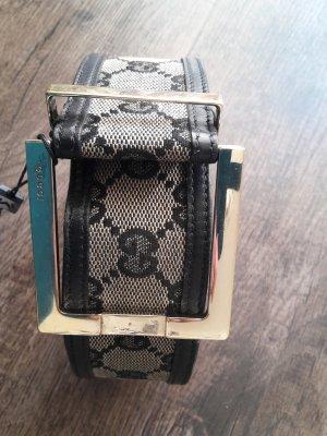 Original Gucci Vintage Leinengürtel beige/schwarz Größe 85