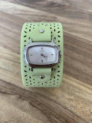 Guess Montre avec bracelet en cuir argenté-vert pâle