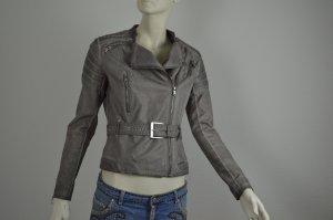 Original Guess Leder-Jacke Grau Gr. 36