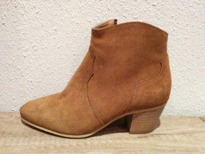 Original Hallhuber Wildleder Ankle Boots Gr 37 Chelsea Stiefelette Stiefel braun