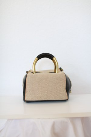 Original Hare and Hart Tasche Bag Leder Canvas Satchel Beige schwarz Gold