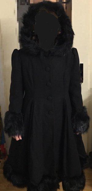 Hell Bunny Abrigo de invierno negro tejido mezclado