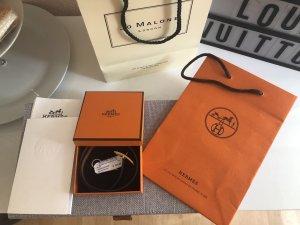 Original Hermès Behapi Lederarmband schwarz und braun 2 Tragevarianten