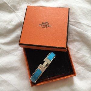 Original Hermès Clic Clac H Armreif aus Palladium Türkisblau