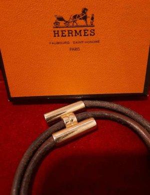 Original HERMÈS Leder-Armband Tournis H gold
