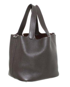 Original HERMÉS PICOTIN Tasche Braun Clemence Leder Hermes Leather Bag Brown