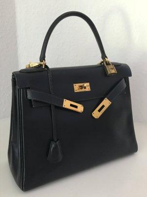 Original HERMES TASCHE Kelly Bag 28 Schwarz Blau Gold + Schultergurt + Dust Bag