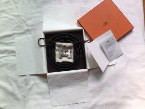 Hermès Cintura reversibile nero-blu scuro