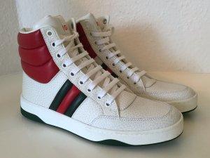 Original Hightop GUCCI Sneakers Turnschuhe 38 Neu Weiß Rot Leder White Red New