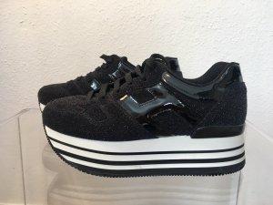 Original HOGAN Plateau-Sneaker schwarz-weiß mit Shine-Effekt