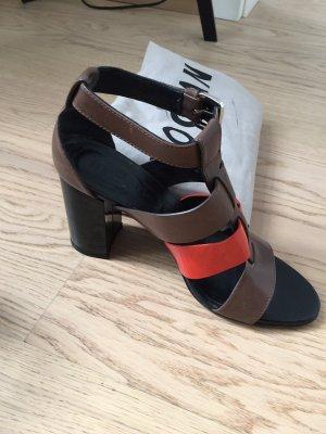 Hogan Roman Sandals neon orange-cognac-coloured leather