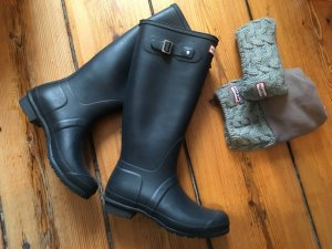 Original Hunter Gummistiefel mit Wintersocken in Dunkelblau in 42