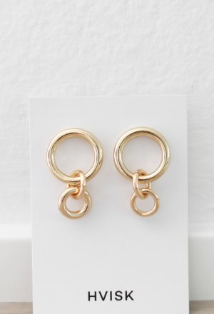 Original Hvisk Ohrringe Gold Hoops Vintage Look Neu