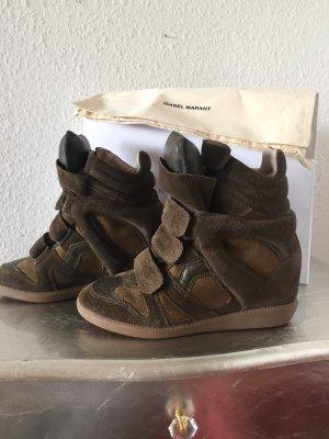 Original Isabel Marant High Top Sneakers Keilabsatz oliv wNeu Boots 36 NP 395€