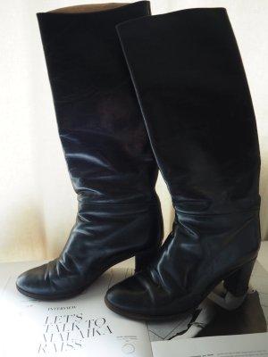 Original italienische Leder-Stiefel, schwarz Größe 36- 37 BOHO VINTAGE