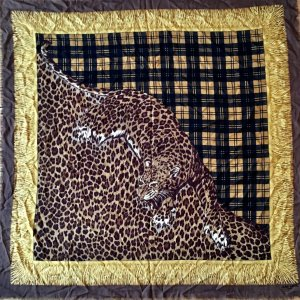 Original Jean patou paris XXL Luxus Tuch Karo leo Leopard Carré Schal scarf foulard  60er Jahre Vintage