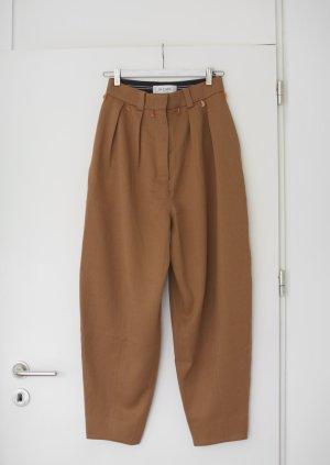 Pantalone a pieghe marrone-beige