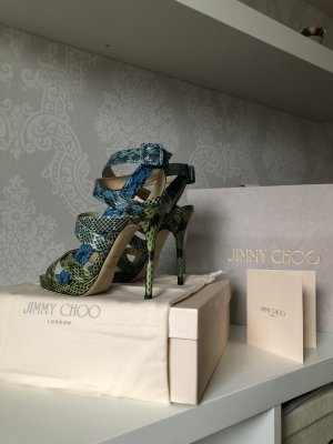Jimmy Choo Lace-up Pumps cornflower blue-lime-green