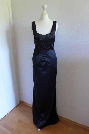 Original Just Cavalli Abendkleid lang schwarz Satin stretch Gr. 36 S
