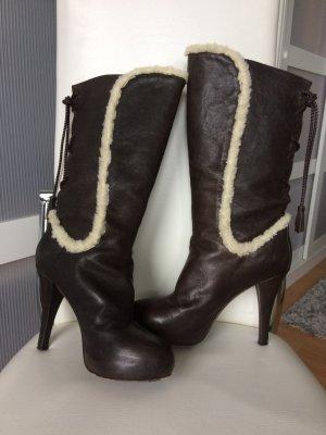 Original Just Cavalli Stiefel 38 braun Leder Echtleder