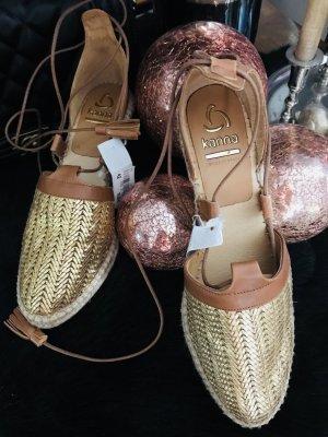 Original kanna Espandrillas Keilabsatz Schuhe Gold gr. 41