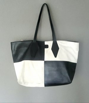 Original Karl Lagerfeld Leder Tasche Shopper Bag black'n White