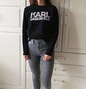 Karl Lagerfeld Sweatshirt zwart-zilver Katoen