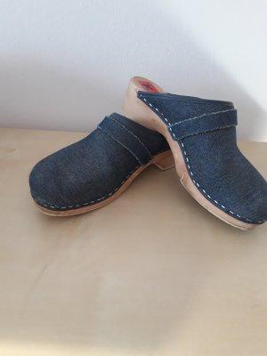 Heel Pantolettes steel blue wood